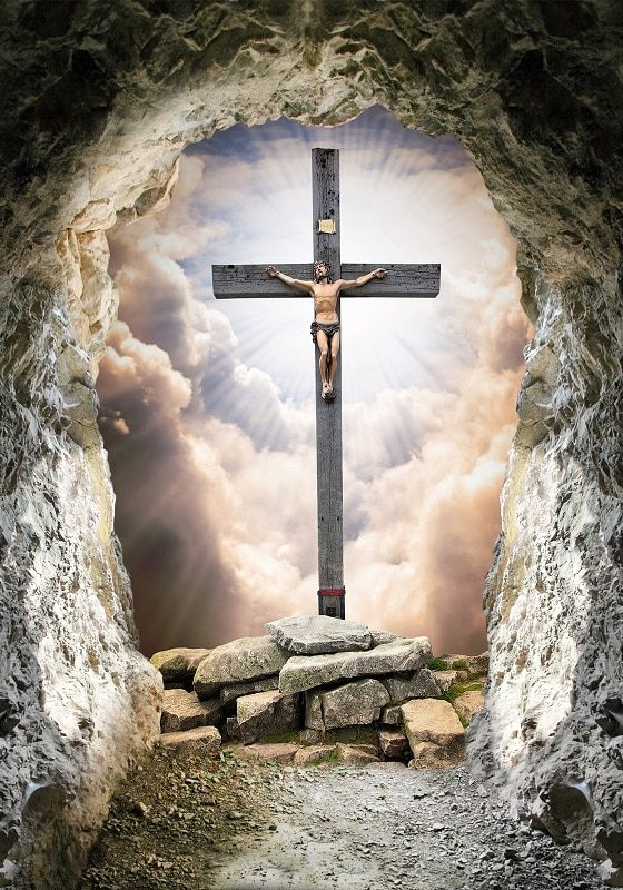 How to be a man (Jesus Christ on the cross, from the view through a cave)