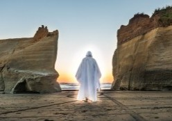 Walking out towards the sea, as the sand touches the bottom of his sandals. And, between two mountain walls. Christ shows us that He is the Alpha and Omega of the human male.