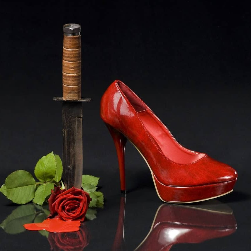 save my Catholic marriage, do this one thing to improve your marriage today (knife, high heel shoe, rose with blood flowing from it)