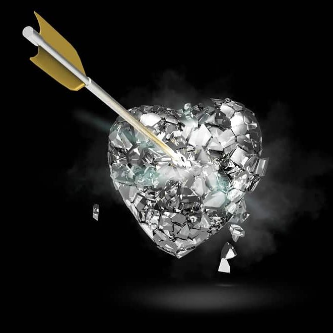 Catholic Alpha Radical Podcast: glass heart shattering with an arrow going through it