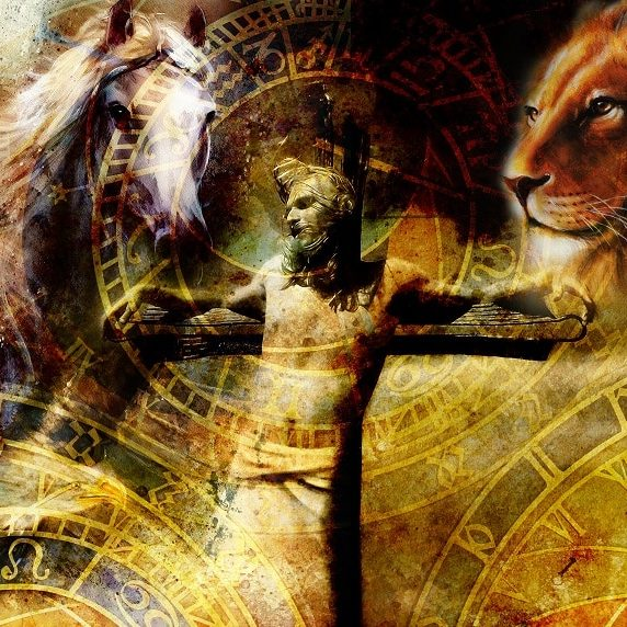 how to be a man a depiction of Juseus on the cross with a horse and lion Catholic Alpha Radical Podcast