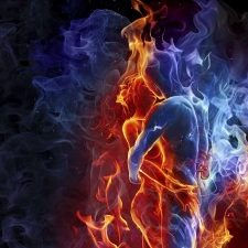 Intensify the intimacy in your Christian Marriage, while igniting the passion, fire and splendor in the heart of your Beloved! A married couple with intense blue and orange fire engulfing them.