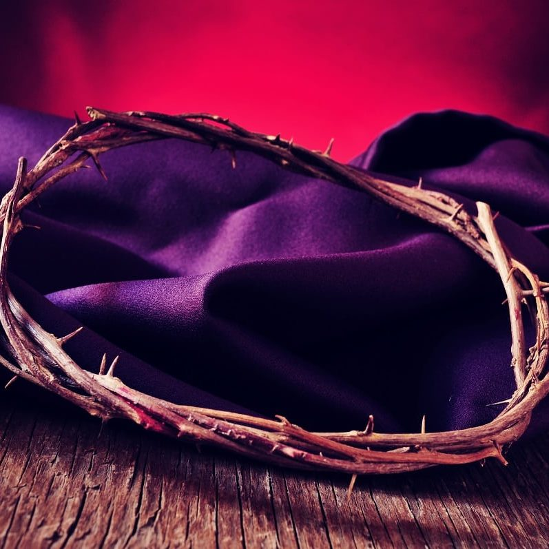Christ with his dawned thorns shows us the true power of sacrifice and intimacy shown by the powerful color of purple